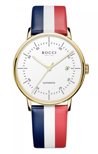 宝驰BC003男士皮带腕表|BOCCI Men's Automatic Waterproof Leather Strap Watch(BC003)
