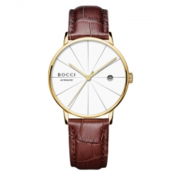 宝驰BC006男士机械腕皮带表|BOCCI Men's Automatic Waterproof Leather Strap Watch(BC006)