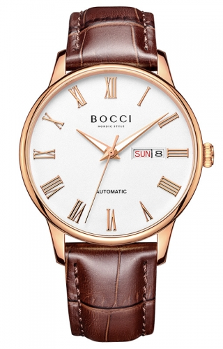 宝驰BC010男士机械皮带腕表|BOCCI Men's Automatic Waterproof Leather Strap Watch(BC010)